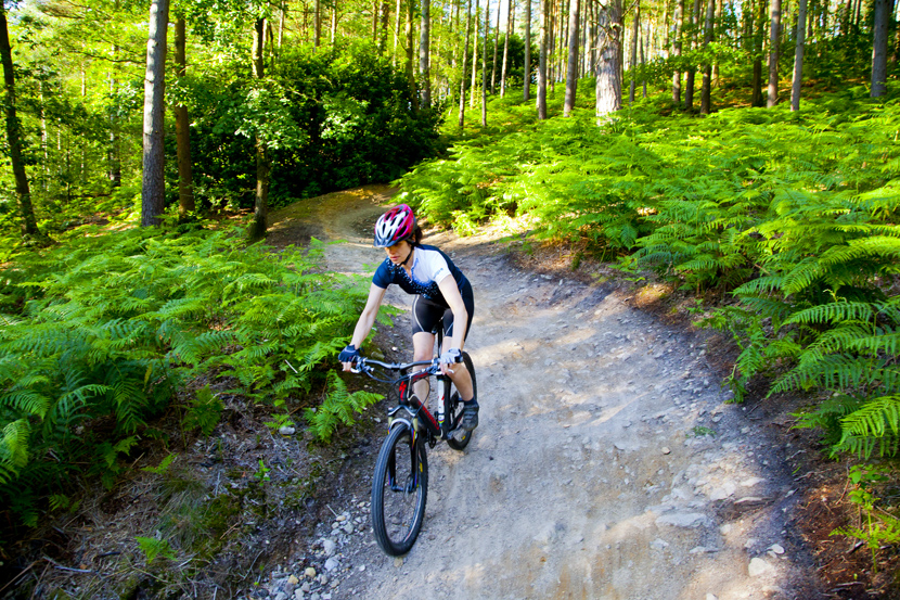 Mountain biking on the Barry Knows Best trail in Surrey women's cycling
