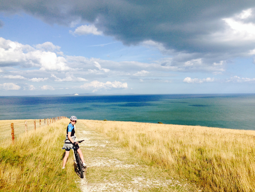 Mountain biking at Old Harrys Rock in Dorset.