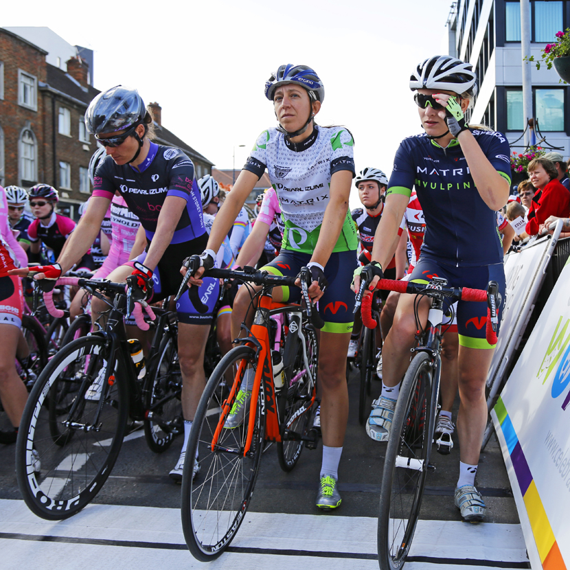 Sarah Storey, Helen Wyman and Sigrid Jochems line up at the start of the Tour Series race in Woking, 2014: no time for self-doubt.