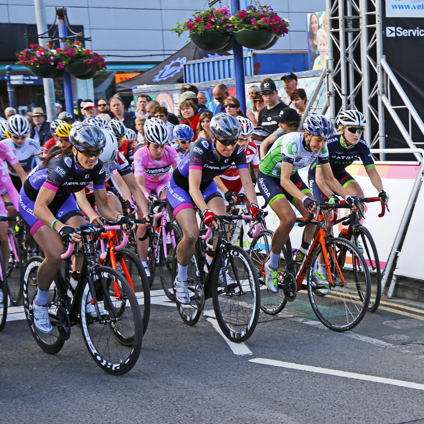 Dame Sarah Storey (centre) crosses the start line on the Tour Series.