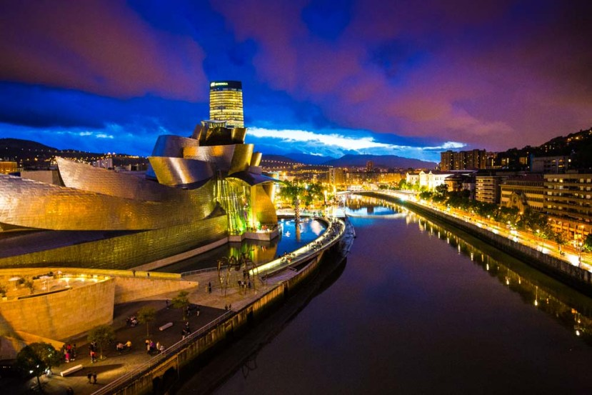 The Guggenheim in Bilbao at night.